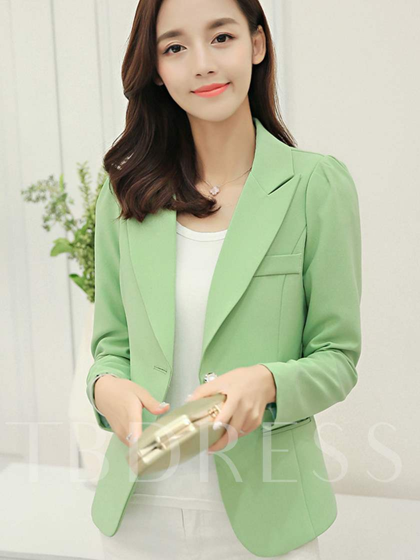 Solid Color Notched Lapel Slim Women's Blazer