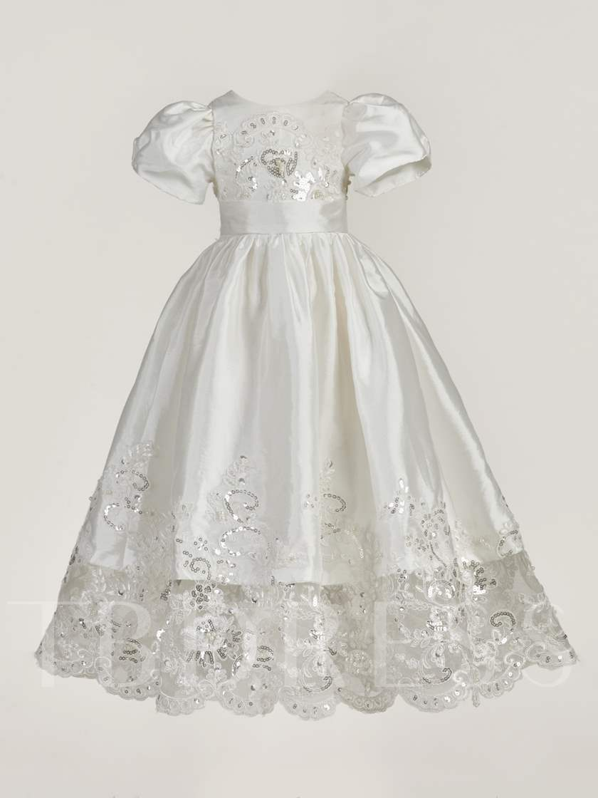 2 Pieces Beading Lace Girls Christening Gown with Bonnet Jacket