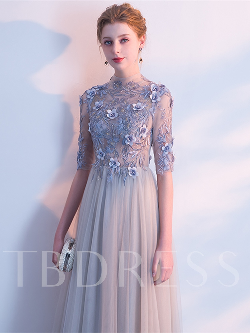 A-Line Embroidery Flowers High Neck Evening Dress