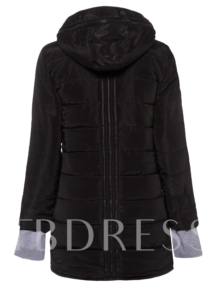Hooded Zipper Thick Slim Mid-length Women's Overcoat