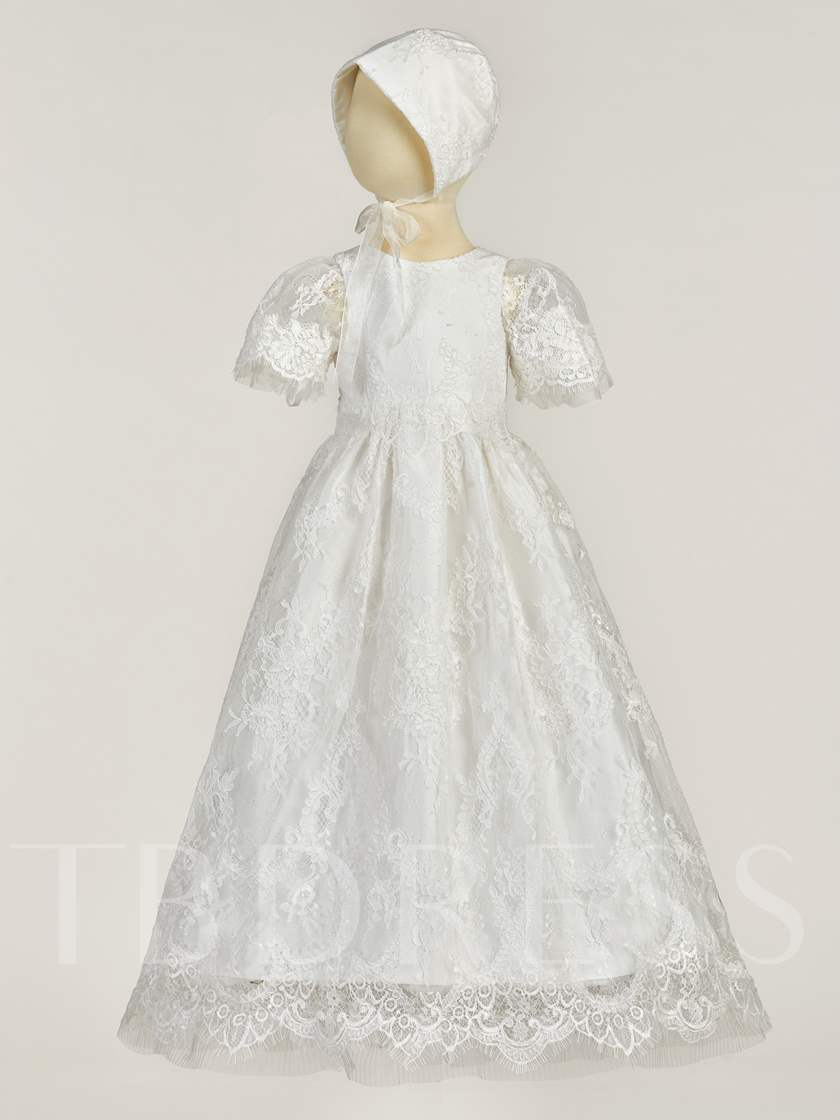 Lace Baby Girls Christening Baptism Dress with Bonnet