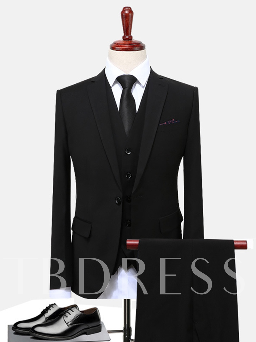Three Piece Solid Color Slim Plain Men's Dress Suit
