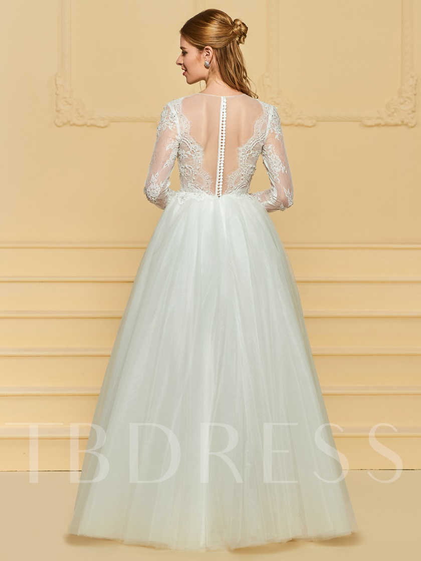Illusion Neck Lace Beading Long Sleeve Wedding Dress