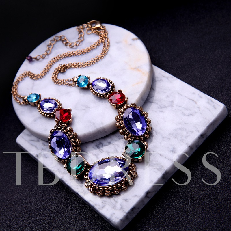 Colorful Rhinestone Link Chain Necklace