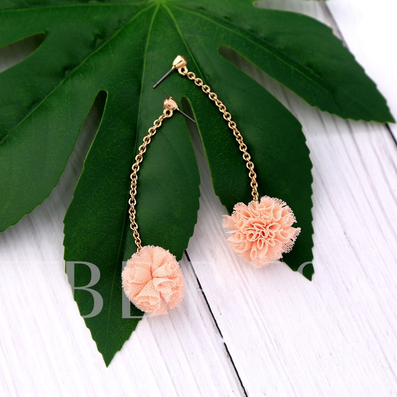 Ball-Flower Rhinestone Handmade Earrings