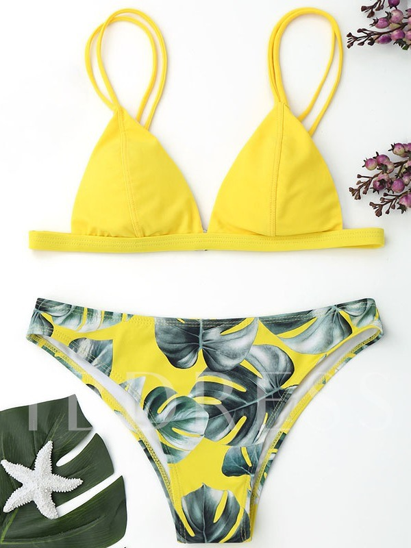 Straps Triangle Floral Women's Bikini Set
