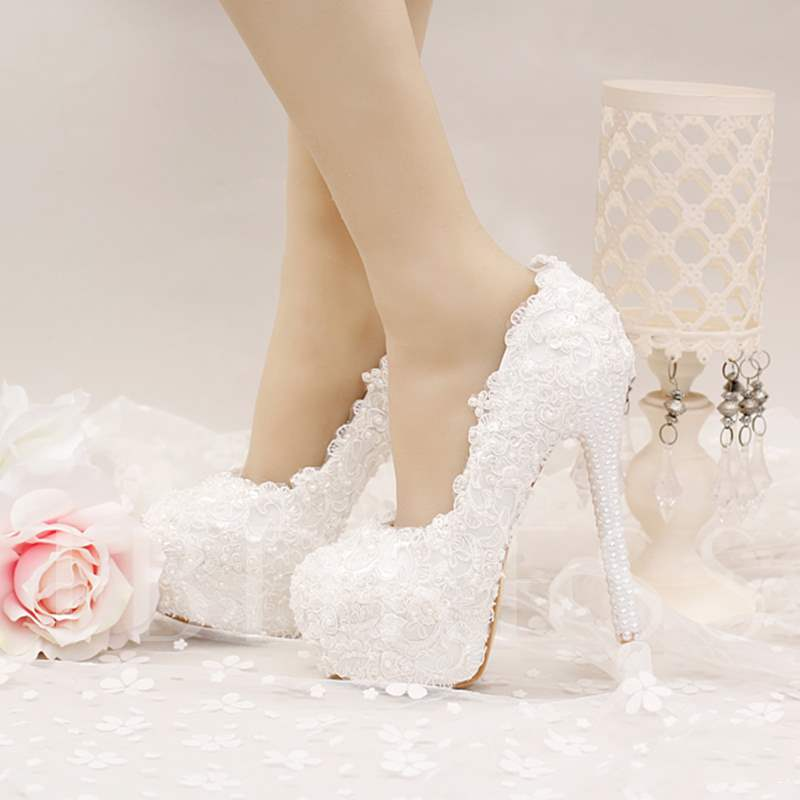 Beads Ultra-High Heel Appliques Platform Women's Wedding Shoes, Spring,Summer,Fall, 12724657