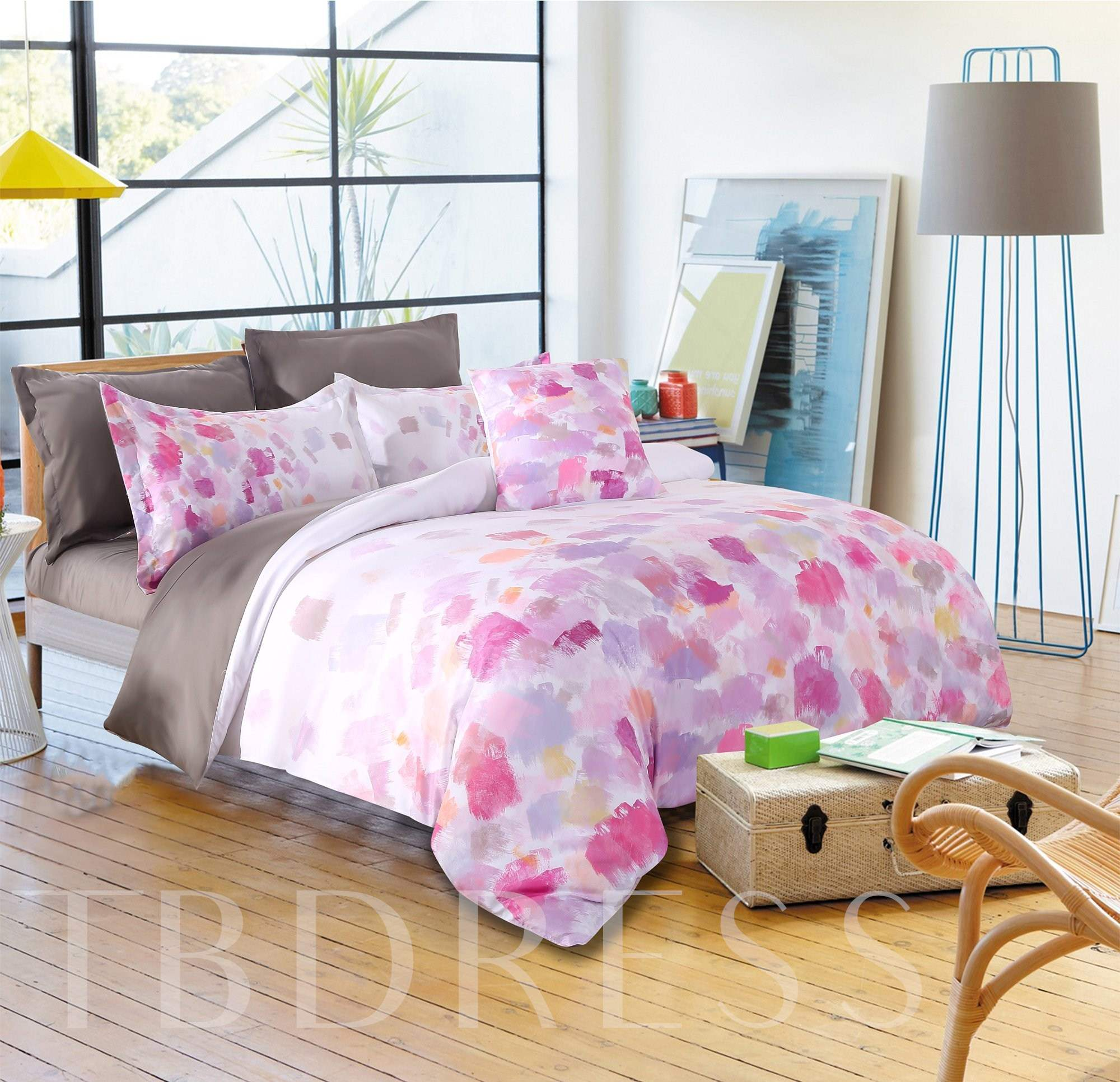 Abstract Scrawl Gouache Pink Pattern 4-Piece Polyester Bedding Sets/Duvet Cover