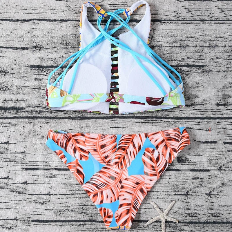 Floral Strap Hollow-Up Women's Tankini Set