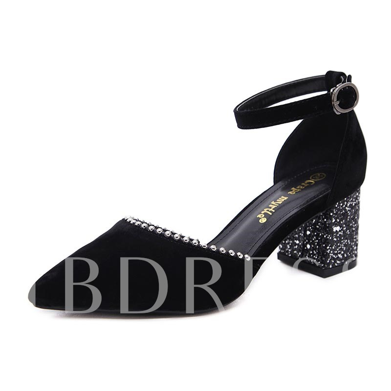Sequin Chunky Heel Line Buckle Suede Women's Pumps, Spring,Summer,Fall, 13168165