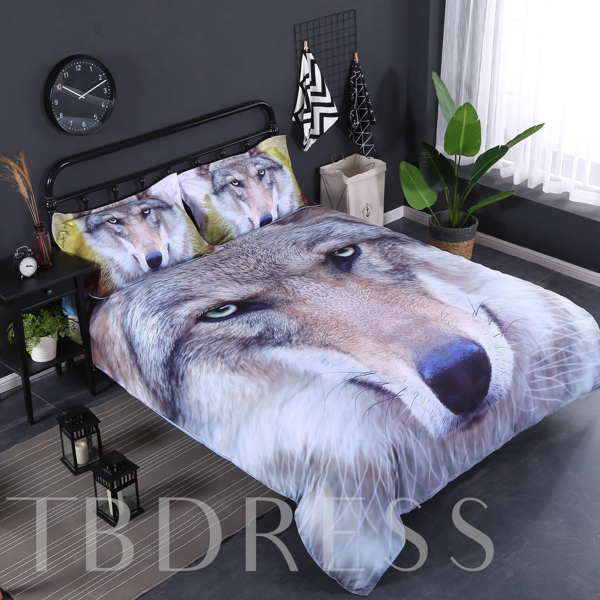 3D Grey Wolf Face Printed Cotton 4-Piece Bedding Sets/Duvet Covers