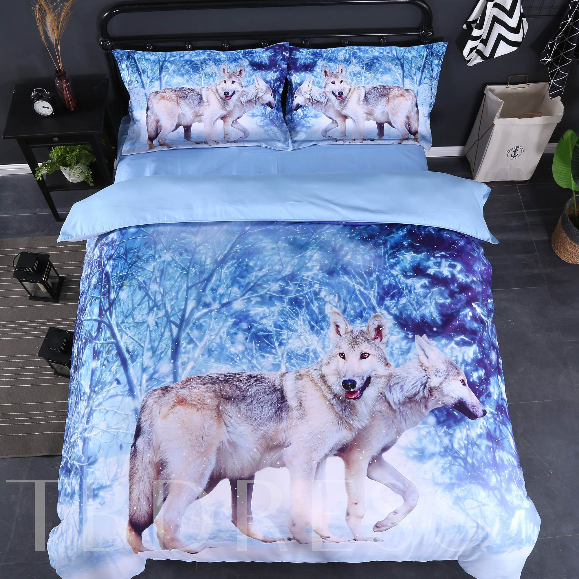3D Wolf in Winter Forest Printed Cotton 4-Piece Bedding Sets/Duvet Covers