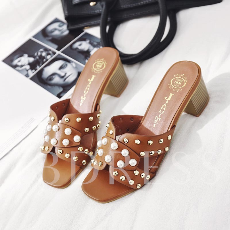 Beads Chunky Heel Flip Flip Women's Sandals