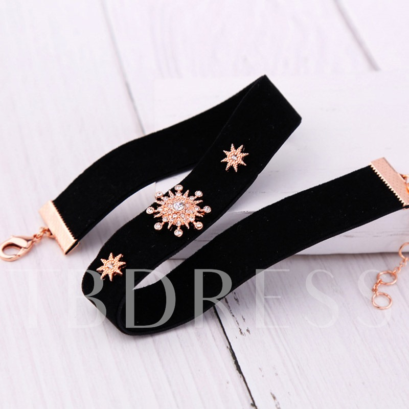 Velvet Star Snowflake Torques Choker Necklace