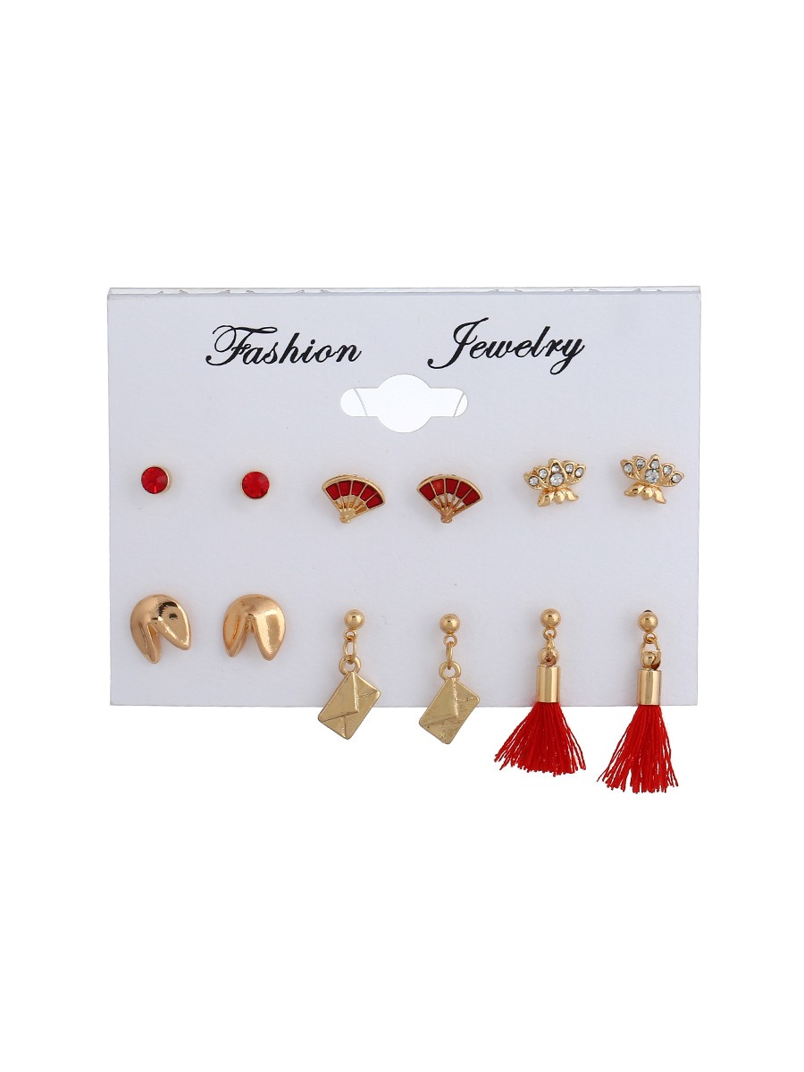 Fan Shaped Tassel Diamante Combination Earrings