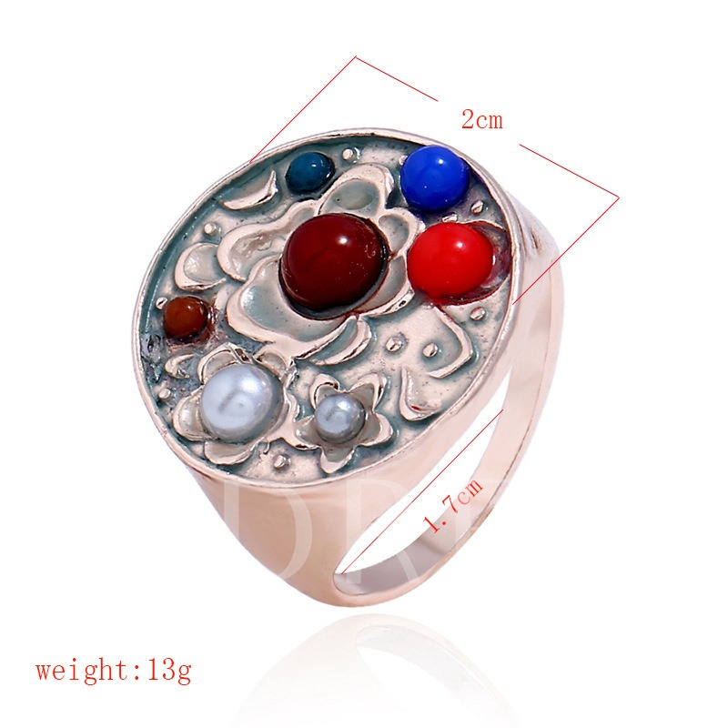 Carving Synthetic Stones Metal Ring