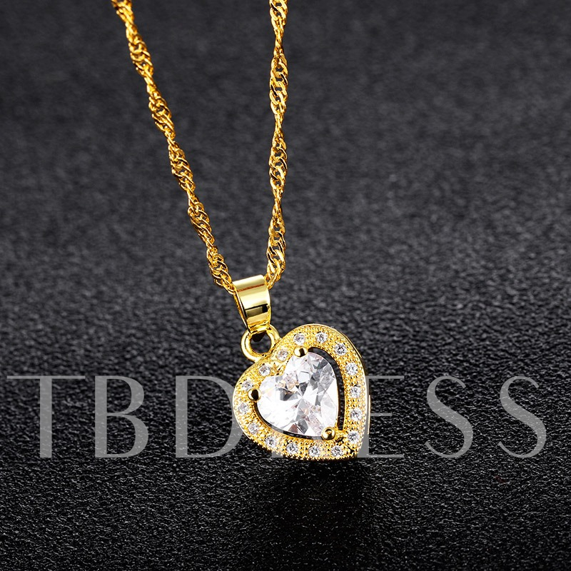 Diamante Heart Zircon Inlaid Necklace