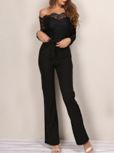 Lace Plain Slash Neck Women's Jumpsuit