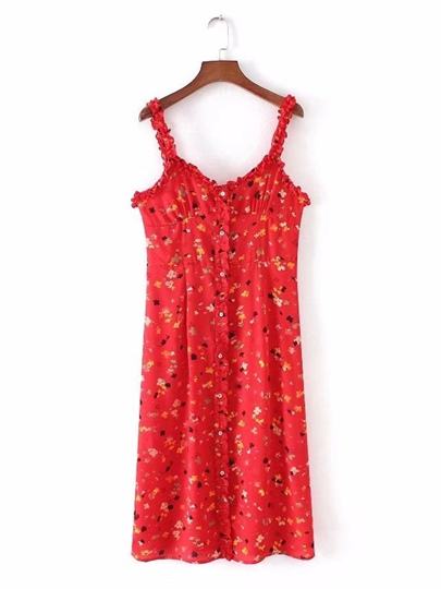 Red Floral Printed Women's Day Dress