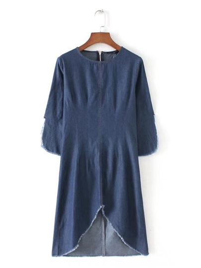 Knee-Length Plain Round Neck Pullover Women's Day Dress