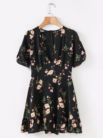 V Neck Floral Women's Day Dress