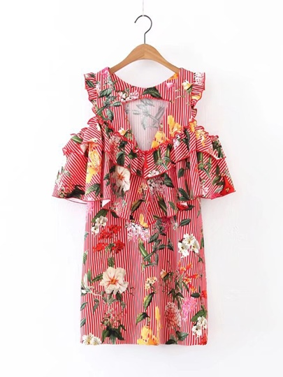 Cold Shoulder Printing Women's Day Dress