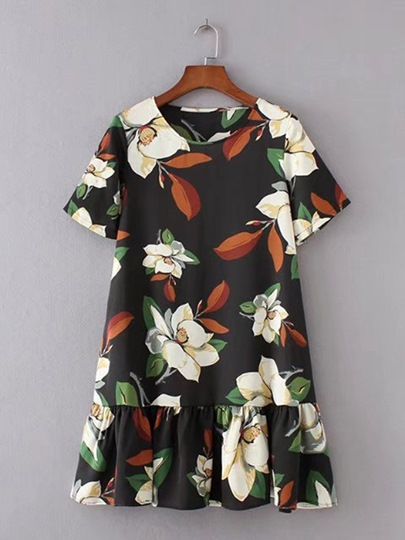 Short Sleeve Loose Printing Women's Day Dress