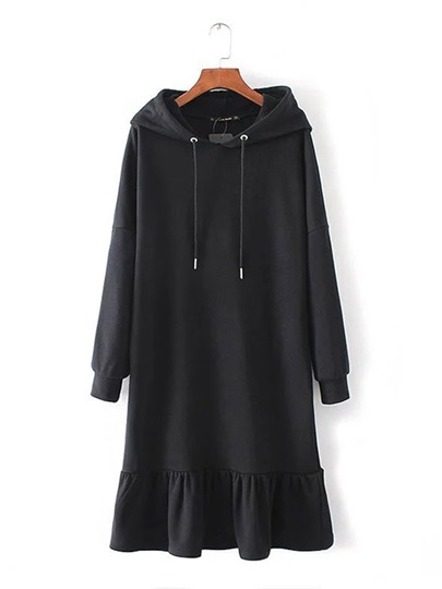 Black Long Sleeve Women's Hooded Dress