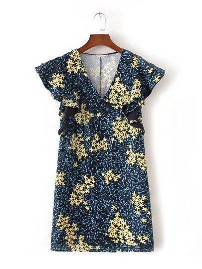 Blue Cap Sleeve Floral Women's Day Dress