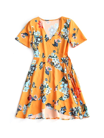Short Sleeve Printing Women's Day Dress