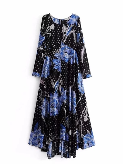 Black Long Sleeve Printing Women's Maxi Dress