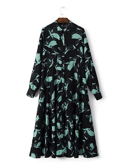 Long Sleeve Black Printing Women's Maxi Dress