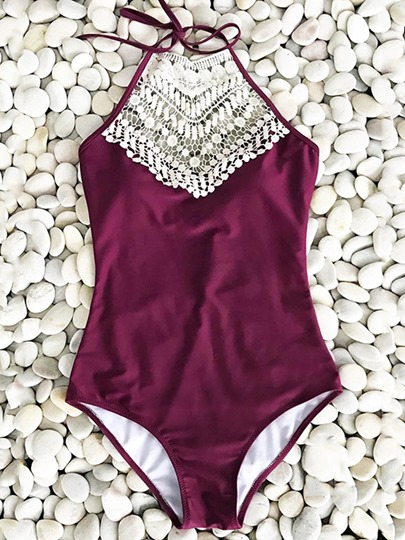 Halter Lace Patchwork Hollow Women's One-Piece Swimsuit