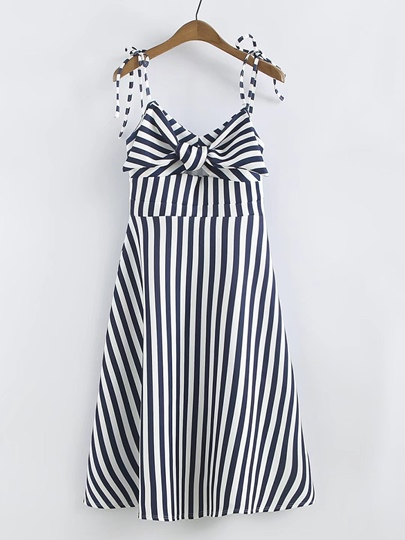 Adjustable Shoulder Straps Striped Women's Day Dress