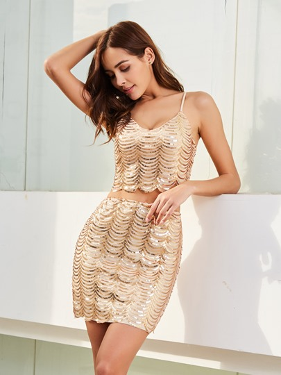 Plain Sequins Backless Women's Two Piece Dress