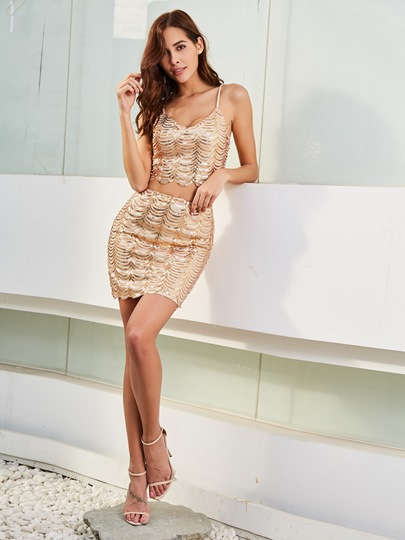 Plain Sequins Backless Women's Skirt Suit