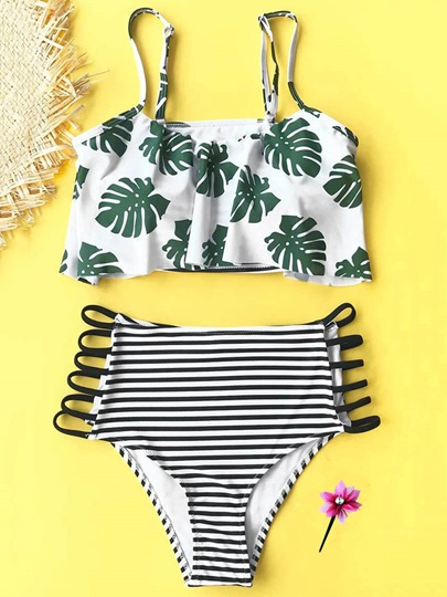 High Waisted Swimsuit Hollow Up Adjustable Strap Women's Tankini Set