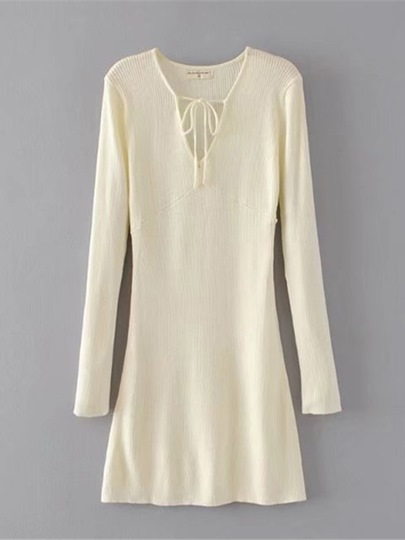 Lace up Plain Women's Sweater Dress