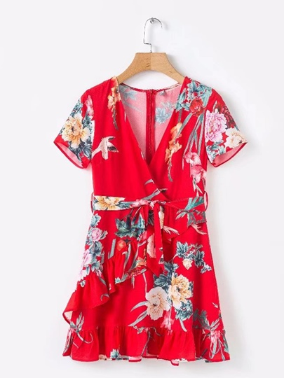 Short Sleeve Chiffon Women's Wrap Dress