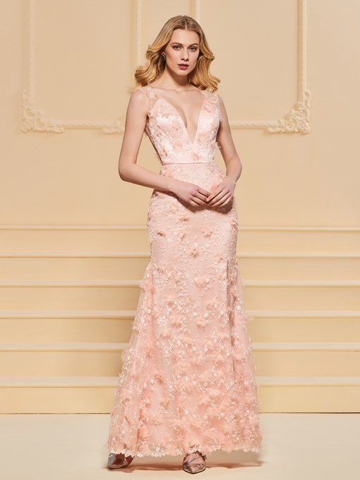 Appliques Lace Sashes Empire Evening Dress