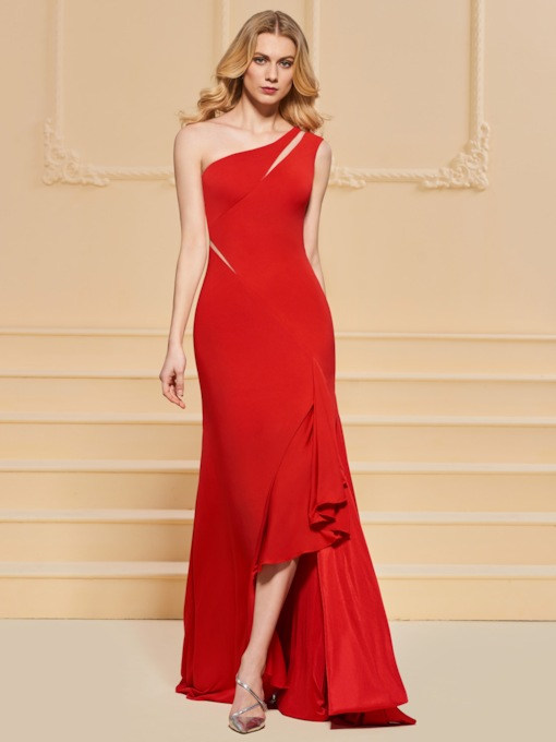 One-Shoulder Mermaid Ruffles Split-Front Evening Dress