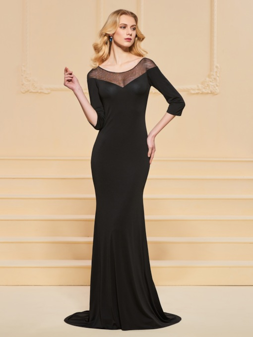 Trumpet Button Lace Bateau Evening Dress