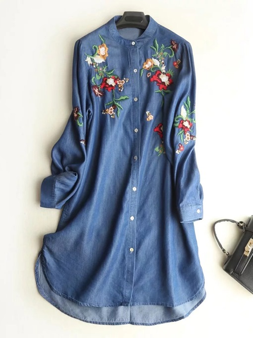 Embroidery Denim Women's Day Dress
