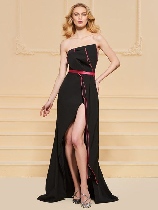 Strapless Trumpet Sashes Split-Front Evening Dress
