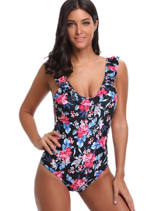 Falbala Patchwork Floral Print Tie One Piece Swimsuit