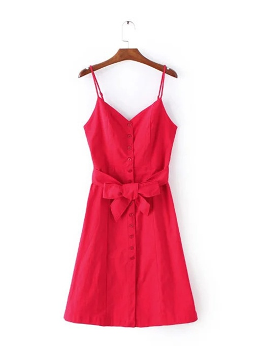 Single-Breasted Knot Women's Day Dress