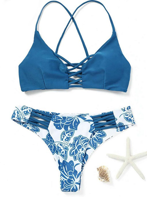 Floral Triangle Strap Top Women's Bikini Set