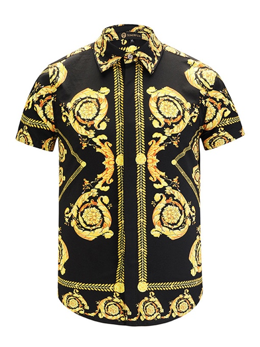 Lapel Vintage Golden Print Slim Men's Shirt