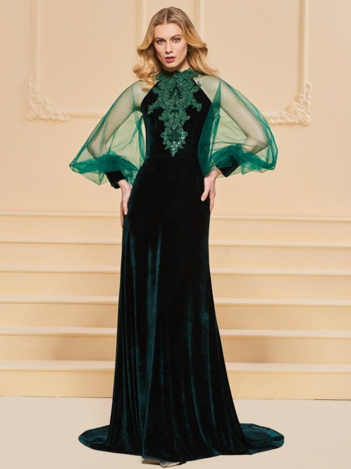 Beading Lace Velvet Long Sleeves Evening Dress