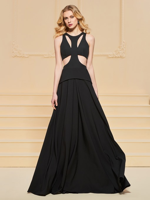 A-Line Scoop Black Long Evening Dress
